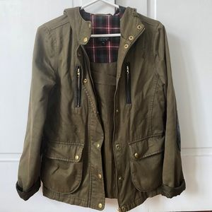 Topshop army green/ leather detailed jacket